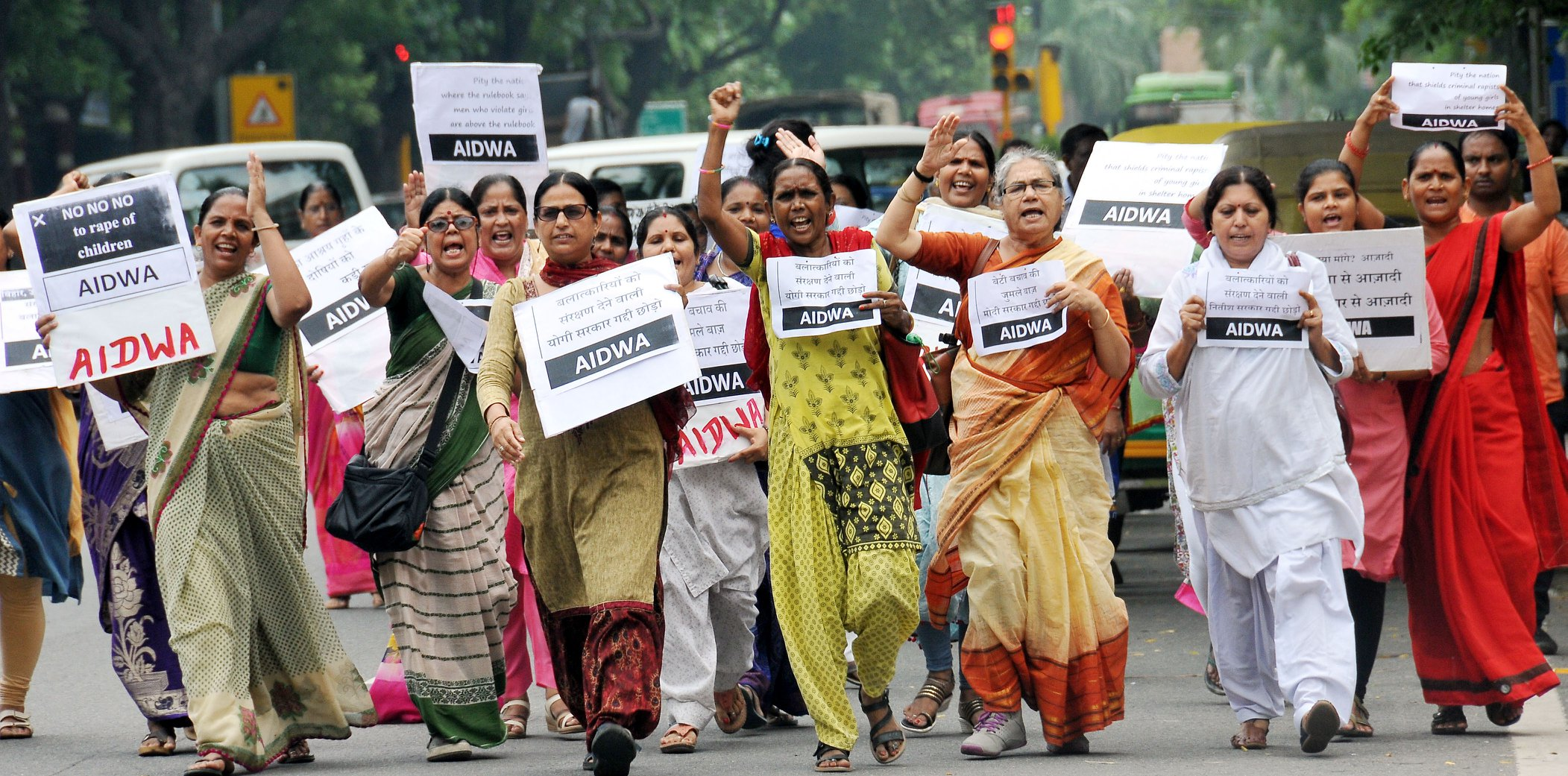 "AIDWA, Delhi held a protest against increasing incidents of sex crimes on girls in ""shelter homes""."