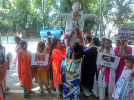 AIDWA Burns Effigies of Babas who Violate Women